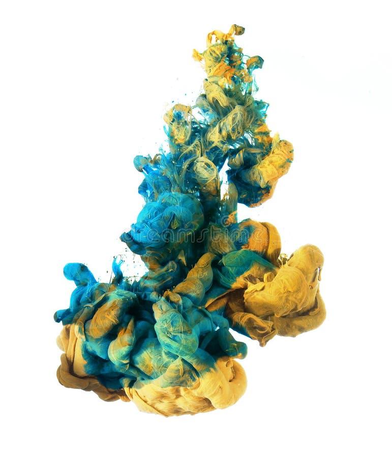 蓝色和黄色油漆 免版税库存图片