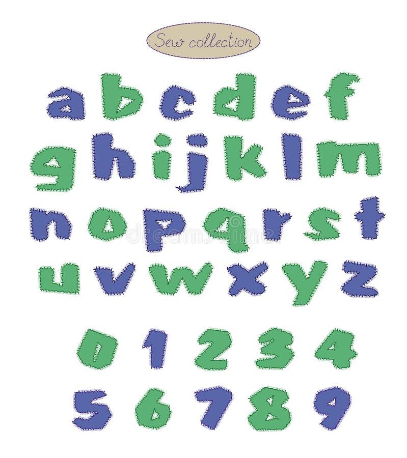 蓝色和绿色被子针字母表 向量例证
