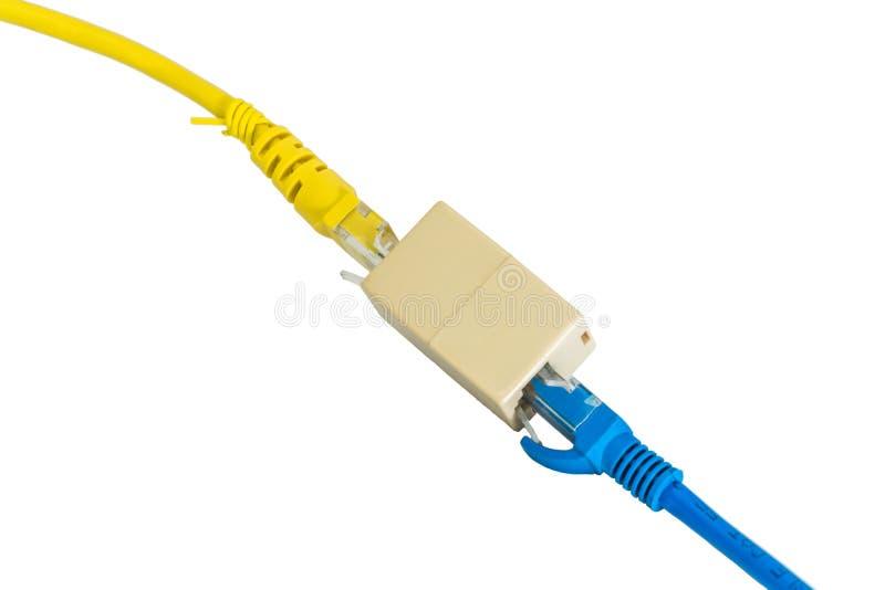 蓝色和黄色以太网Cat5e缚住插座RJ45缆绳增量剂o 库存图片