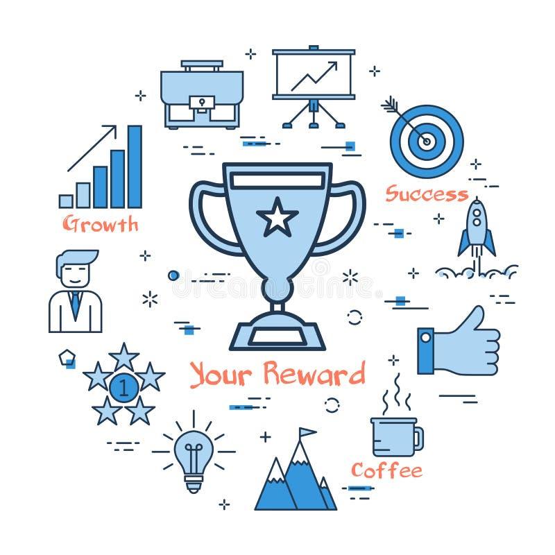 蓝色回合您的奖励概念 向量例证