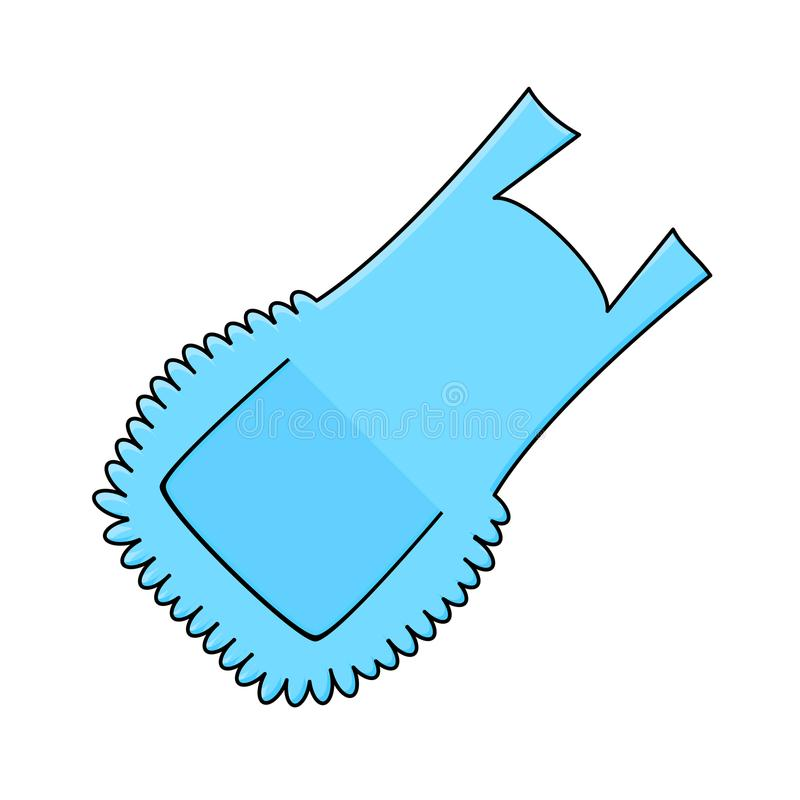 蓝色围裙,在白色背景隔绝的动画片围兜 库存例证