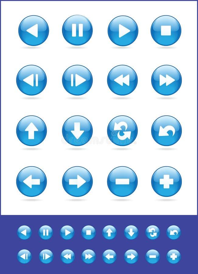 蓝色图标被设置的向量 免版税图库摄影
