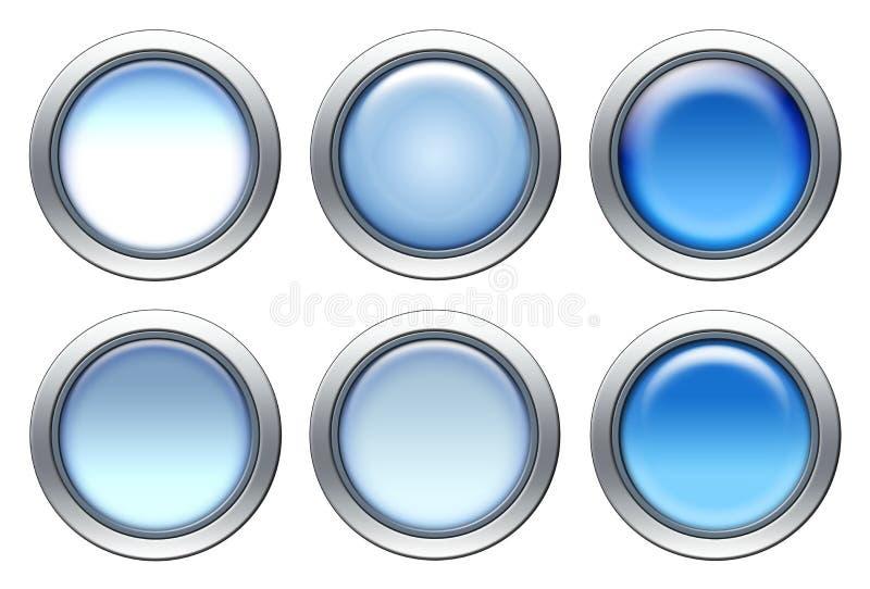 蓝色图标集 皇族释放例证