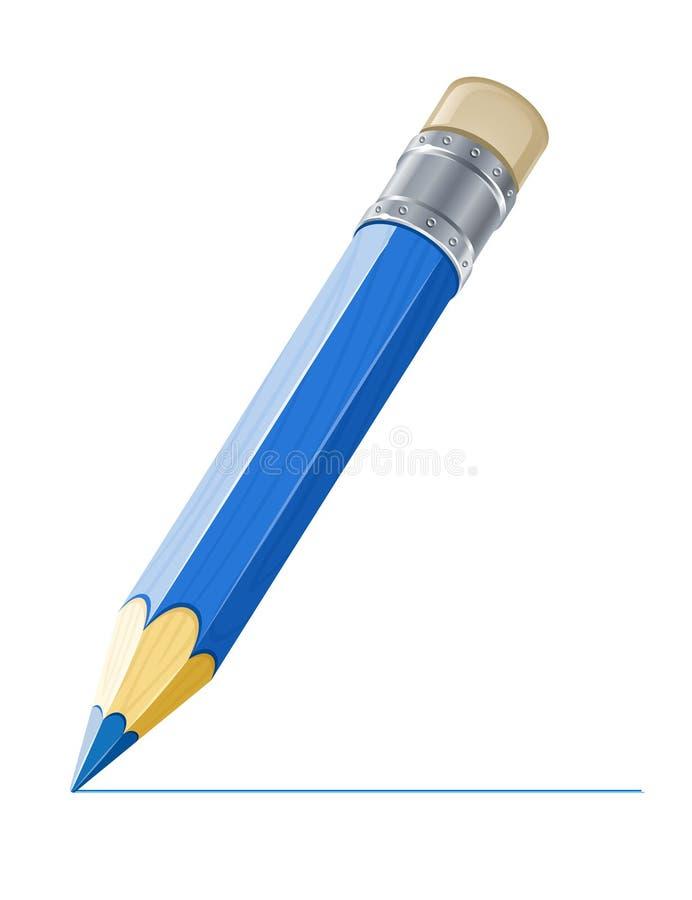 蓝色图画线路铅笔 皇族释放例证