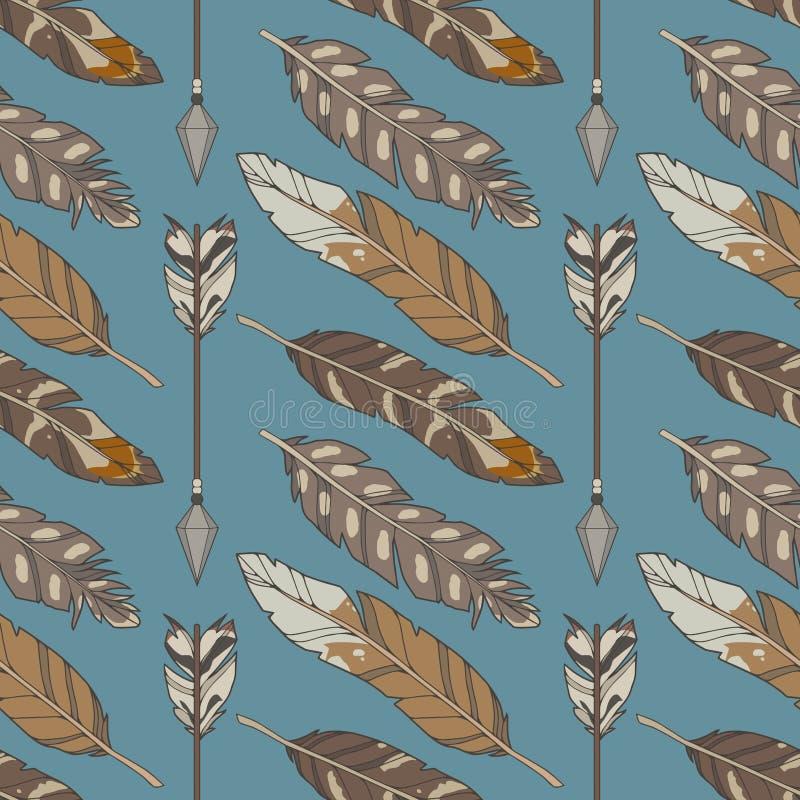 蓝色图表例证无缝的boho和ethno样式与自然老鹰羽毛和箭头 向量例证