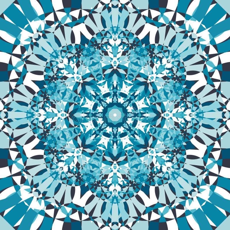 蓝色圆万花筒样式 皇族释放例证
