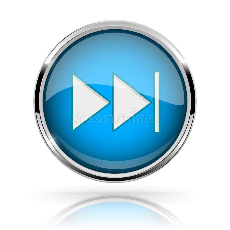 蓝色圆的媒介按钮 快速运送按钮 发光的象与镀铬物框架和与反射 库存例证