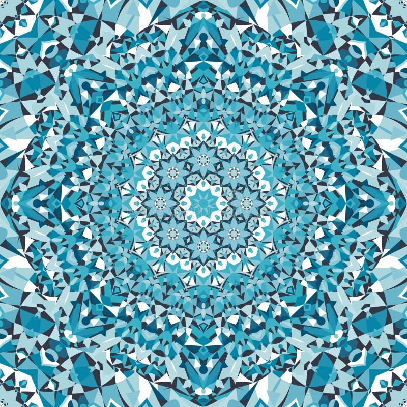 蓝色圆花卉万花筒样式 皇族释放例证