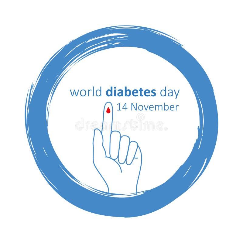 蓝色圈子和手指与血液下落世界糖尿病天11月14日 库存例证