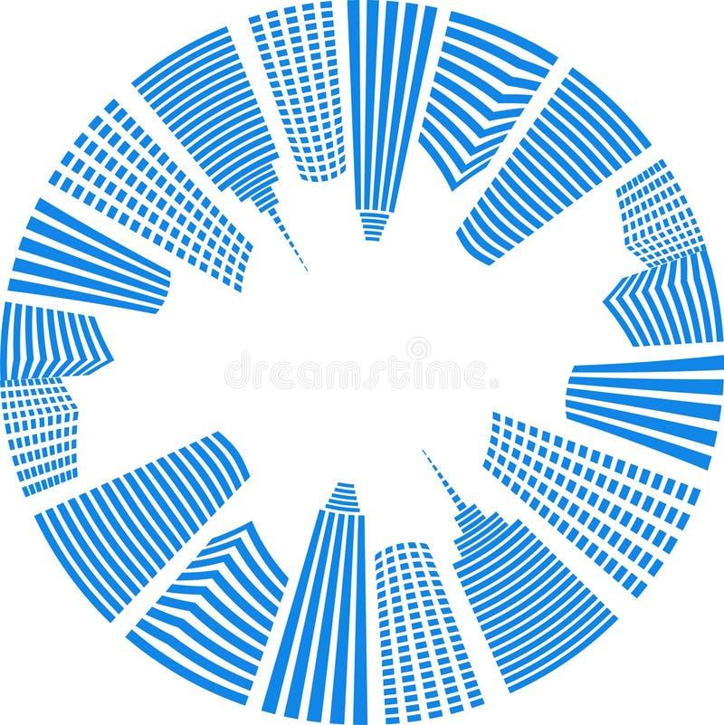 蓝色圈子城市 皇族释放例证