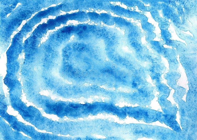 蓝色圈子波浪水彩背景纹理 向量例证