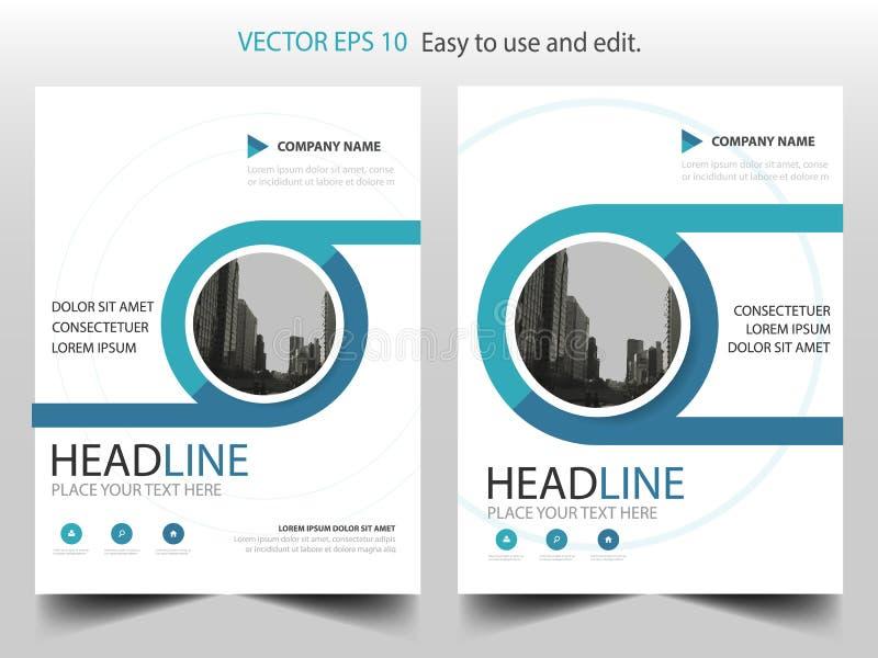 蓝色圈子年终报告小册子设计模板传染媒介 企业飞行物infographic杂志海报 抽象布局模板, 库存例证