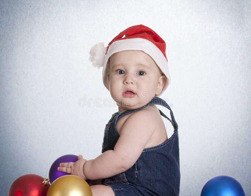 蓝色圣诞节婴孩 图库摄影