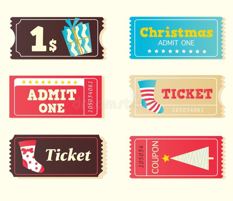 蓝色圣诞节戏院红色减速火箭的票 库存例证