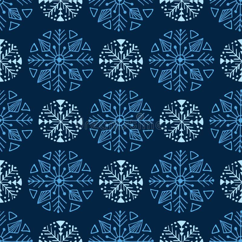蓝色圣诞节无缝的模式   向量例证
