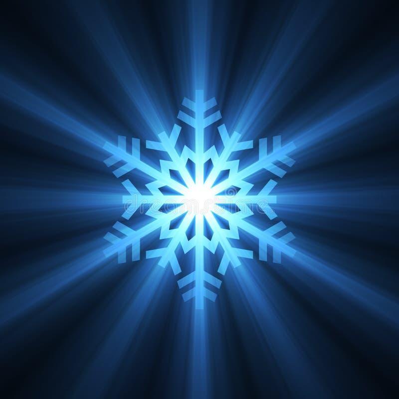蓝色圣诞节火光光雪花 向量例证