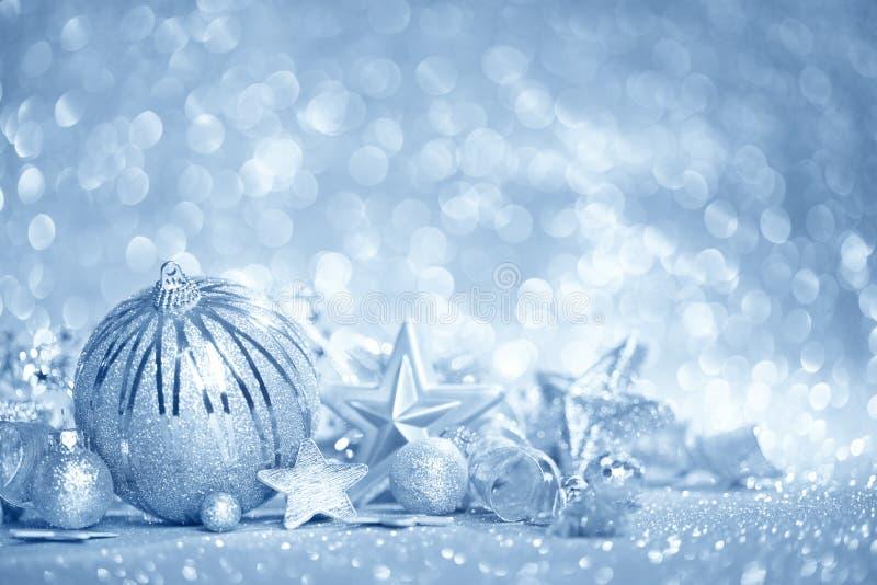 蓝色圣诞节背景 免版税库存照片