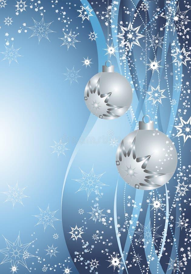 蓝色圣诞节装饰 向量例证