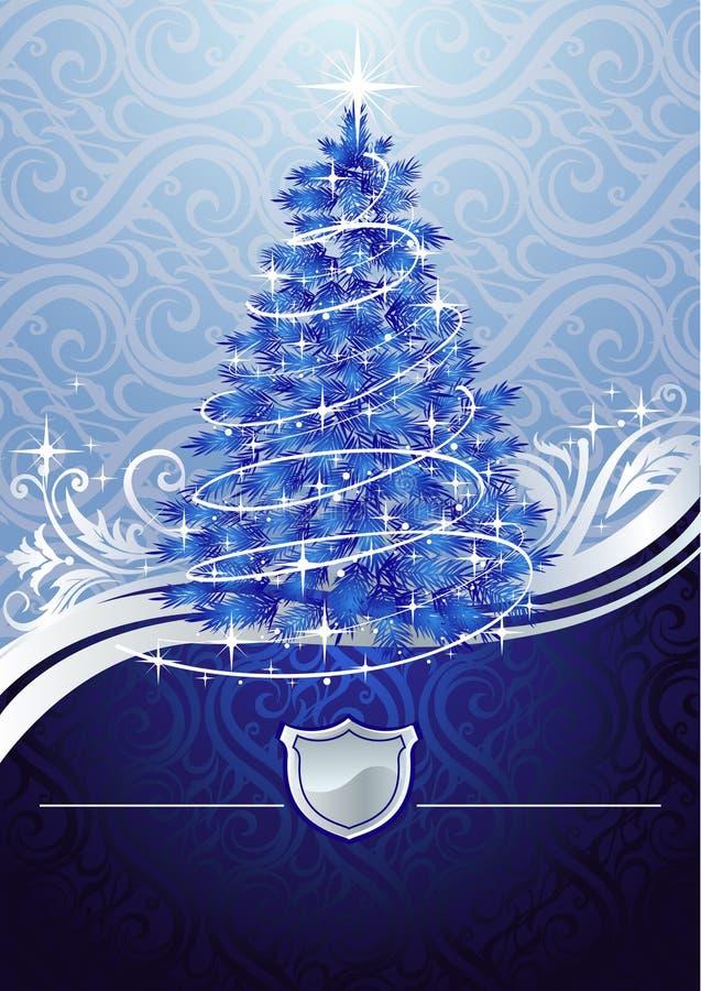 蓝色圣诞节银树 皇族释放例证