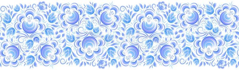 蓝色在俄国gzhel样式的传染媒介花卉无缝的样式 向量例证