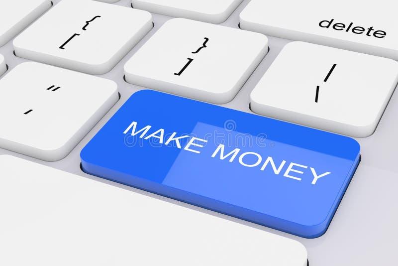 蓝色在白色个人计算机键盘做金钱钥匙 3d翻译 库存例证