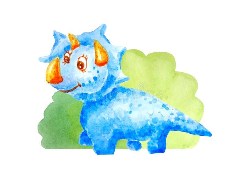 蓝色在白色背景隔绝的灌木附近的种类愉快的恐龙triceraptor 向量例证
