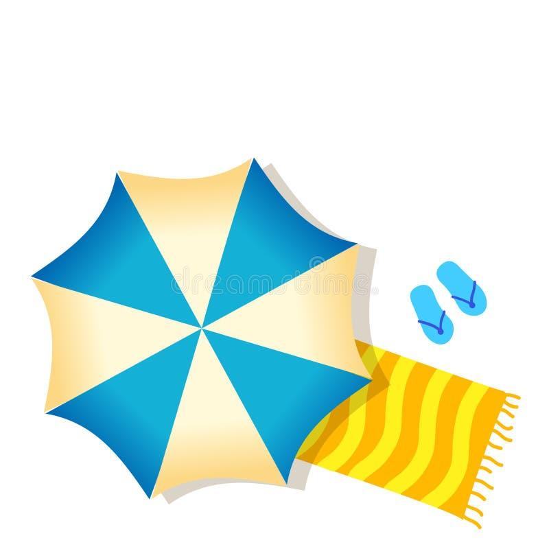 蓝色在白色backgr隔绝的沙滩伞、毛巾和拖鞋 库存例证