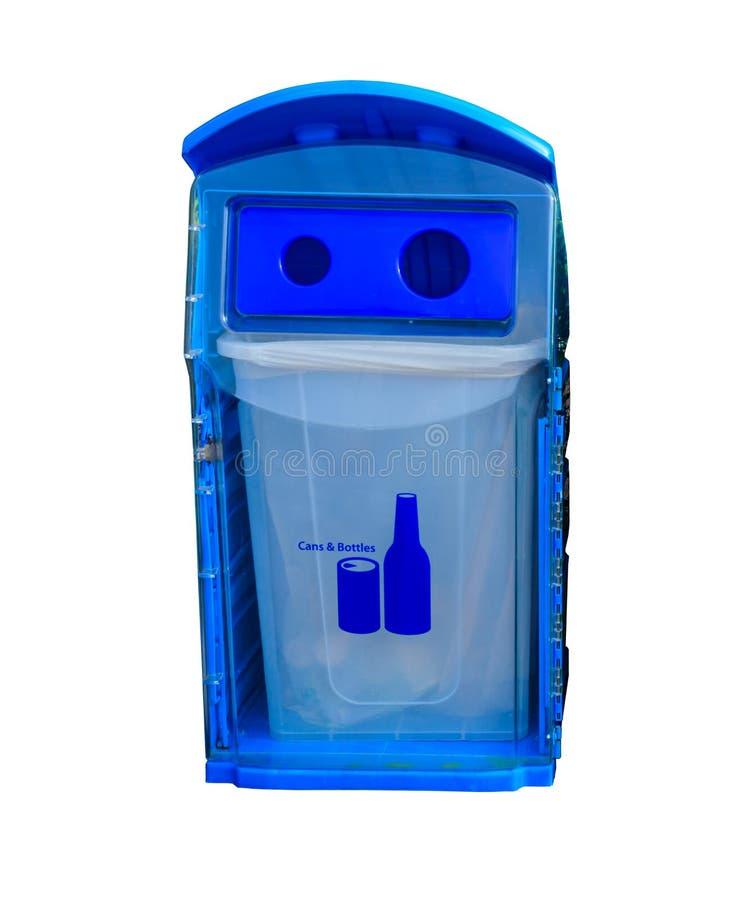 蓝色在白色backgrou和瓶的回收站隔绝的罐 图库摄影