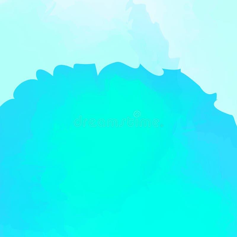 蓝色在软的蓝色背景的水彩样式,背景卡片的水彩蓝色纹理或横幅广告弄脏 库存例证