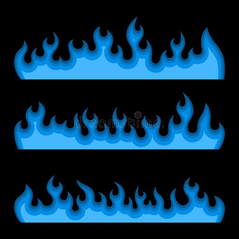 蓝色在黑背景设置的火灼烧的火焰 向量 向量例证