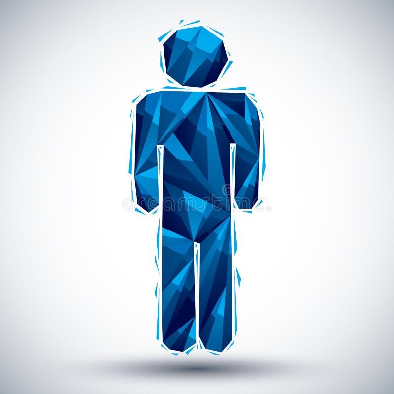 蓝色在3d现代样式做的人几何象,最好为使用  库存例证