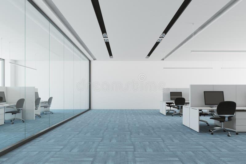 蓝色地板露天场所办公室内部 皇族释放例证