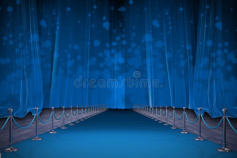 蓝色地毯的数位引起的图象的综合图象 向量例证
