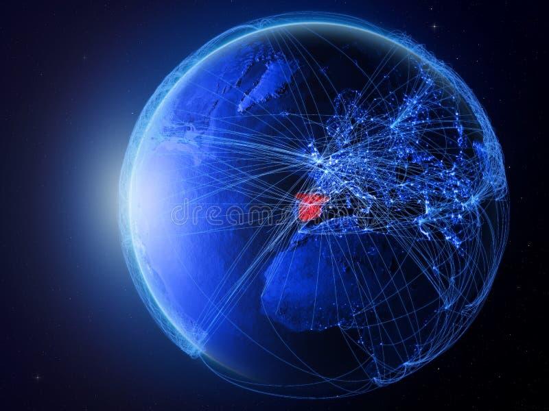 蓝色地球上的西班牙与网络 皇族释放例证