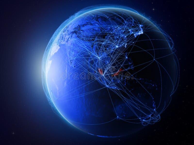 蓝色地球上的马来西亚与网络 向量例证