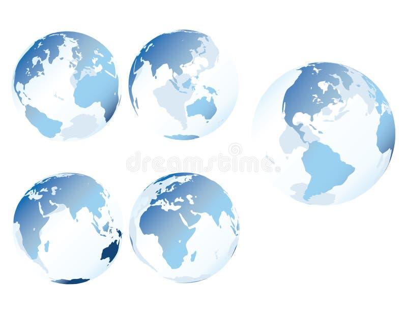蓝色地球玻璃 向量例证