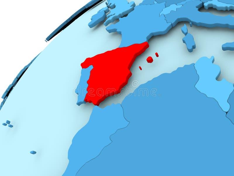 蓝色地球的西班牙 库存例证