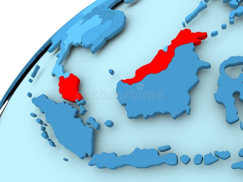 蓝色地球的马来西亚 向量例证