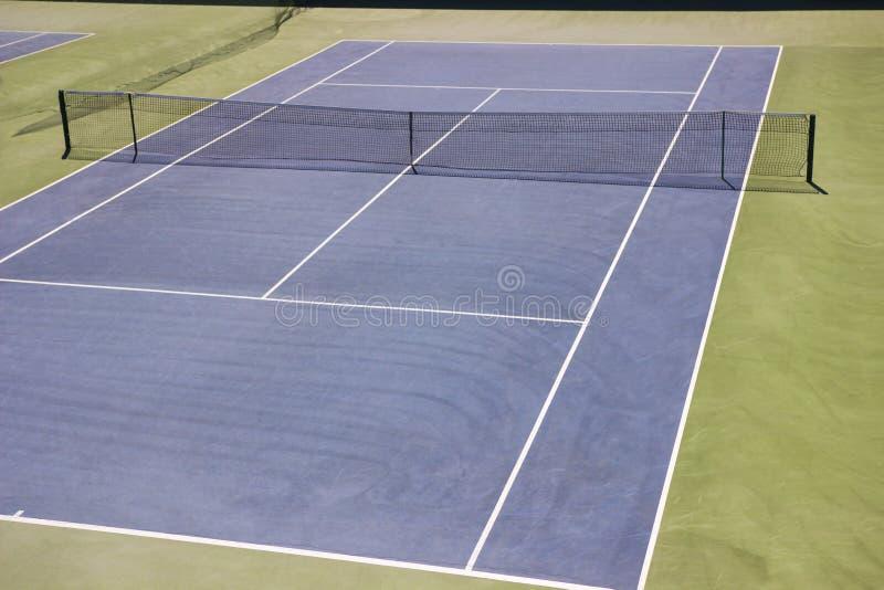 蓝色地面网球场 艰苦, Plexipave,反弹一点, DecoTurf, TeraFlex, AC戏剧 免版税库存照片