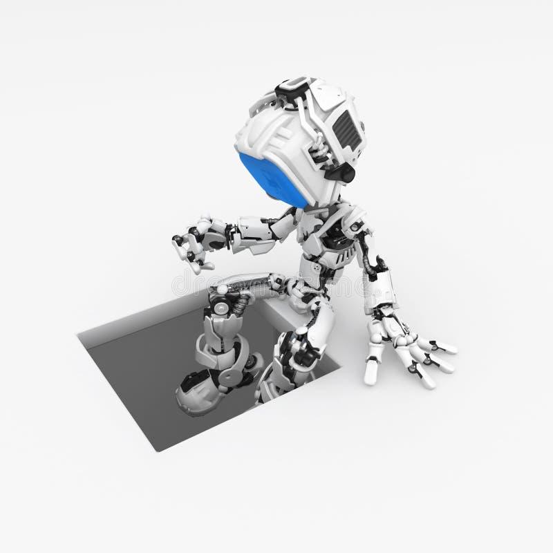 蓝色坑机器人屏幕 向量例证