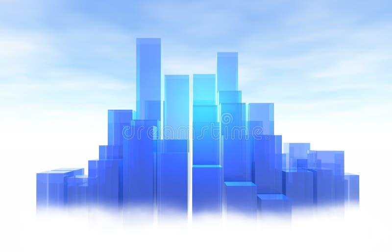 蓝色城市光 皇族释放例证