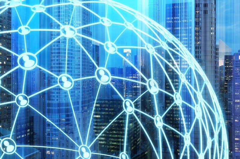 蓝色城市和网络 皇族释放例证