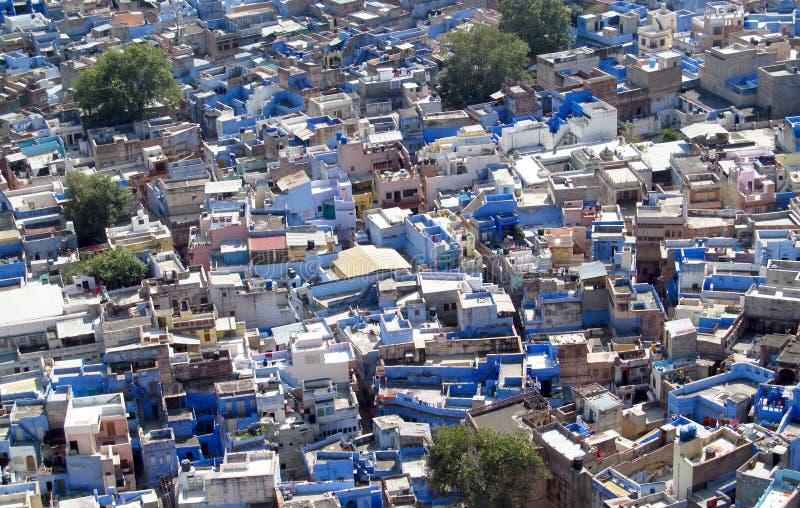 蓝色城市在乔德普尔城,拉贾斯坦,印度,从上面的看法 库存照片