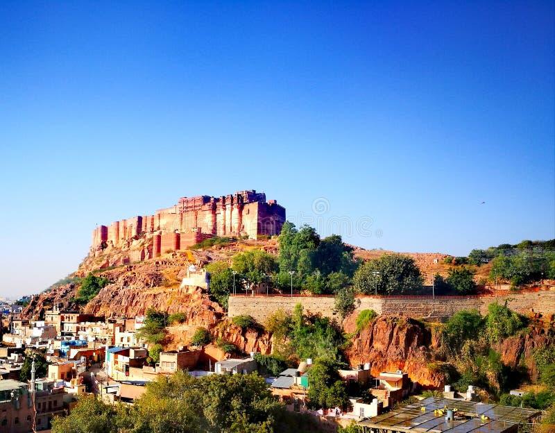 蓝色城市堡垒 库存图片