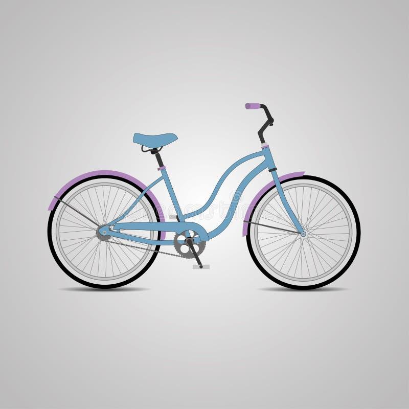 蓝色城市自行车 也corel凹道例证向量 免版税库存照片