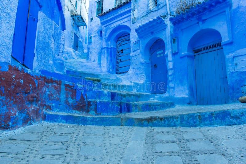 蓝色城市舍夫沙万,摩洛哥,非洲 图库摄影