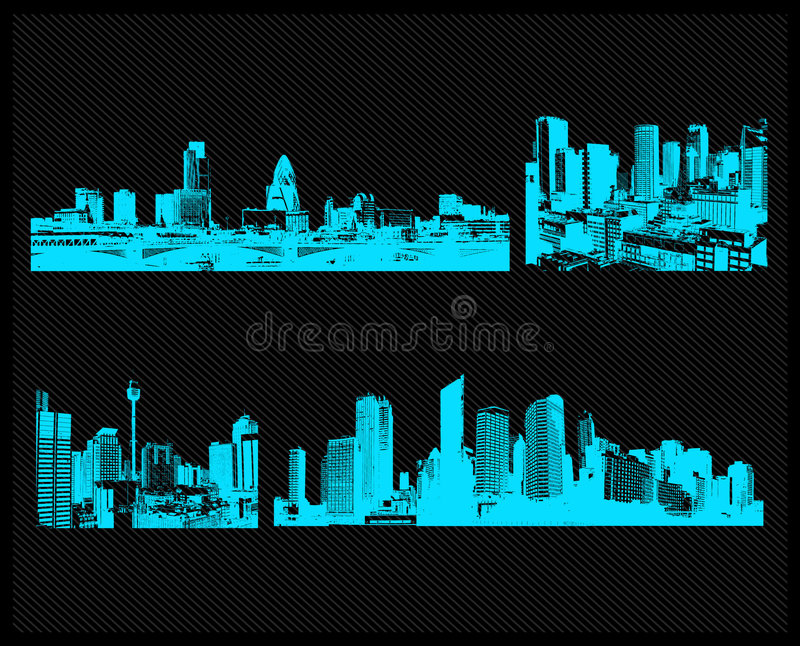 蓝色城市集合向量 库存例证