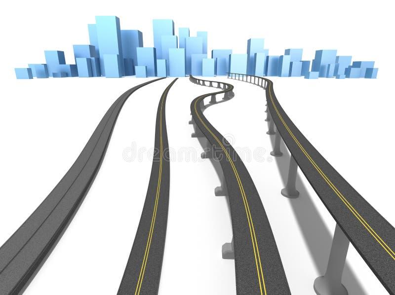 蓝色城市高速公路查出白色 库存例证