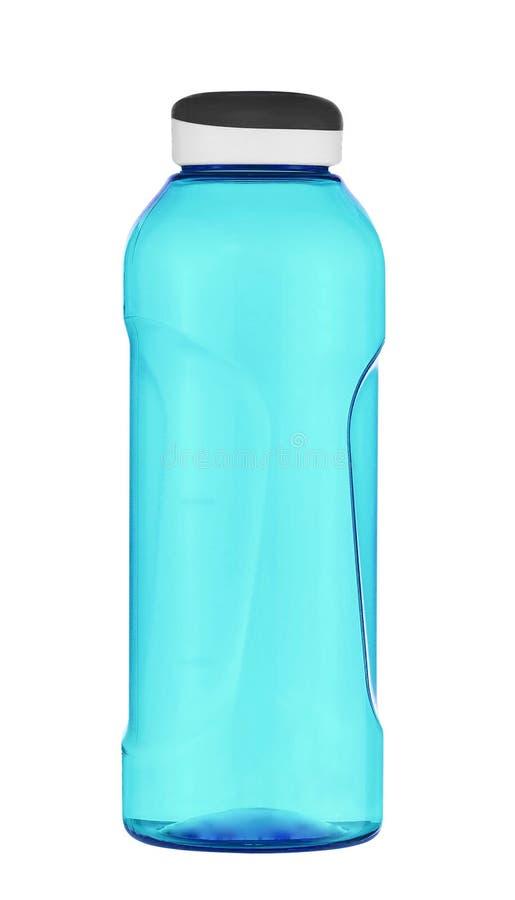 蓝色塑料体育水瓶 库存照片