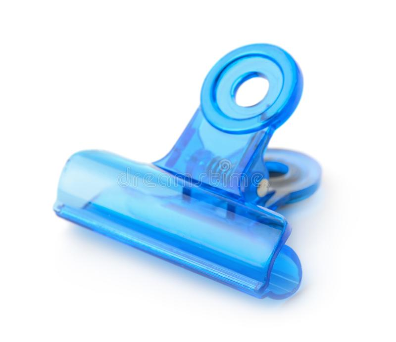 蓝色塑料弹簧夹 免版税库存图片